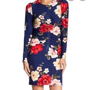 Juniors' Floral-Print Bodycon Dress, M